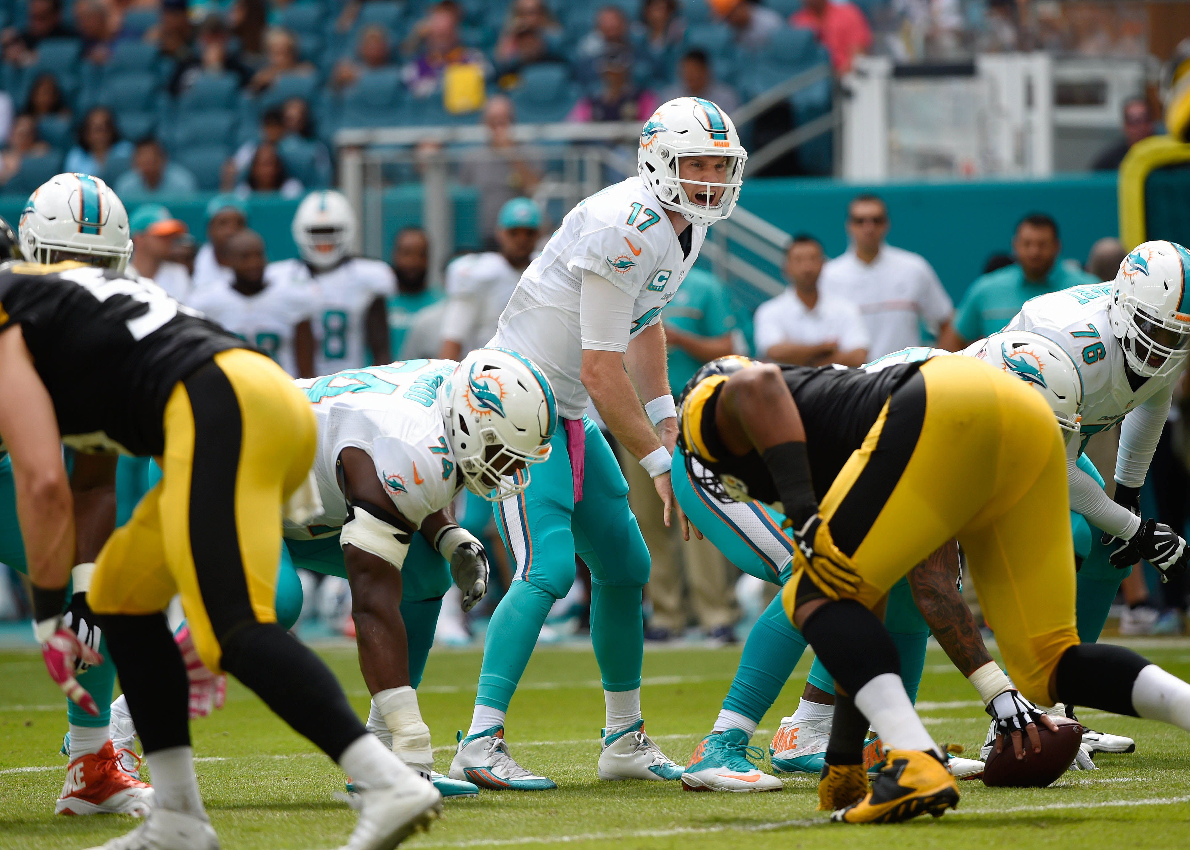 Oct 16, 2016; Miami Gardens, FL, USA; Miami Dolphins quarterback Ryan Tannehill (17) yells out fro the line of scrimmage during the first inning against the Pittsburgh Steelers at Hard Rock Stadium. Mandatory Credit: Steve Mitchell-USA TODAY Sports