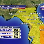 Highest chances for severe has shifted south into Central Florida.