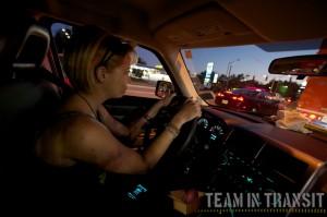 Estee driving a car