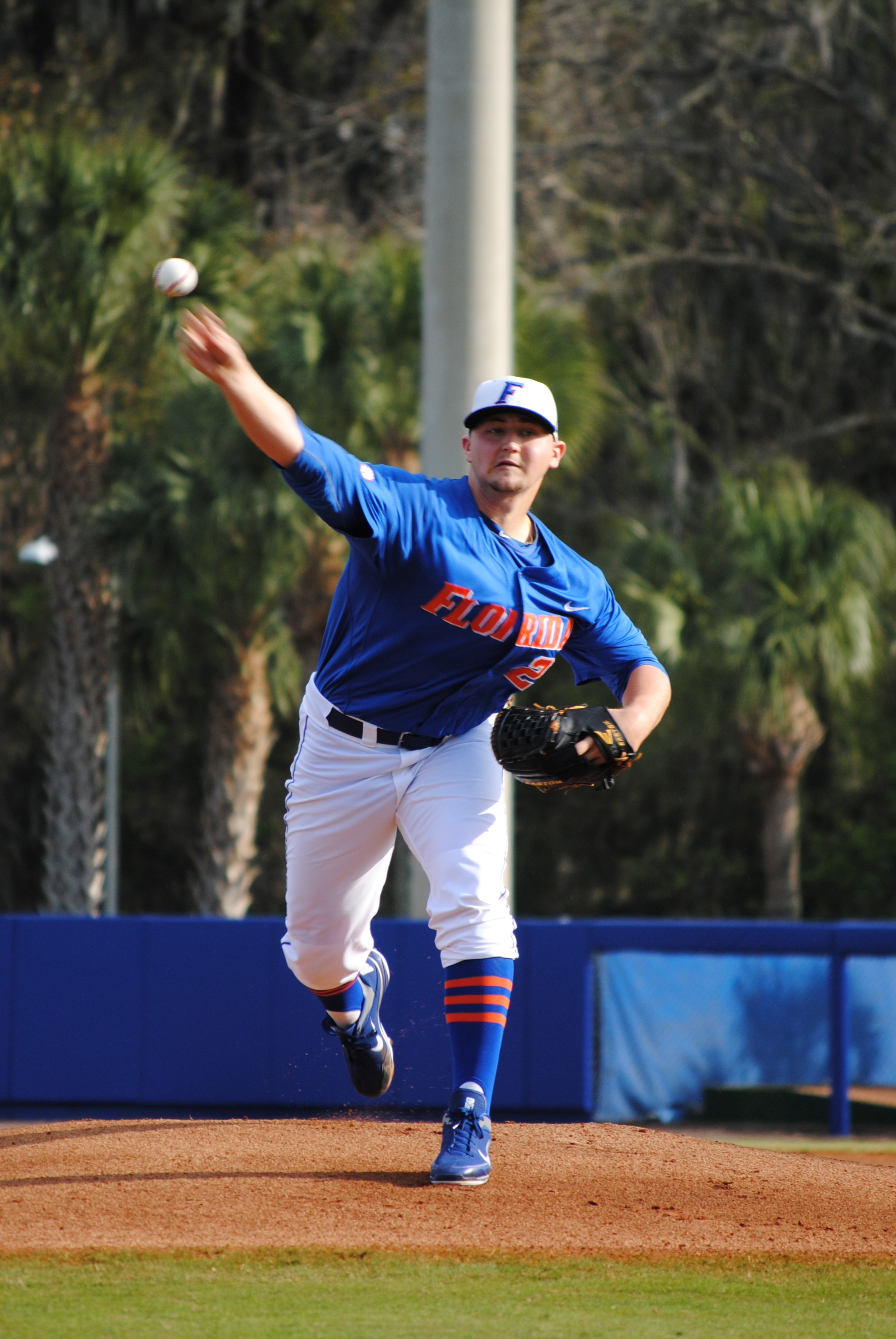 Sophomore Karsten Whitson starts pitching for the Florida Gators.
