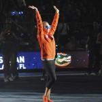 Freshman Brittany Arlington greets the Florida Fans.