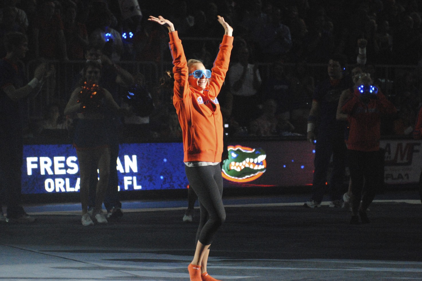 Freshman Brittany Arlington greets the Florida Fans.