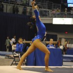 Sophomore Alaina Johnson also stepped off the floor friday night and finished with a score of 9.75.