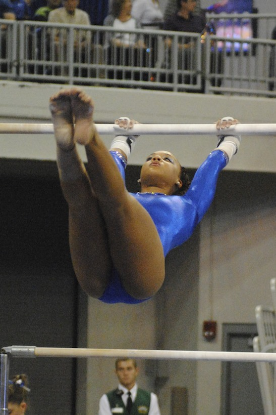 Freshman Kytra Hunter on bars scored a 9.85