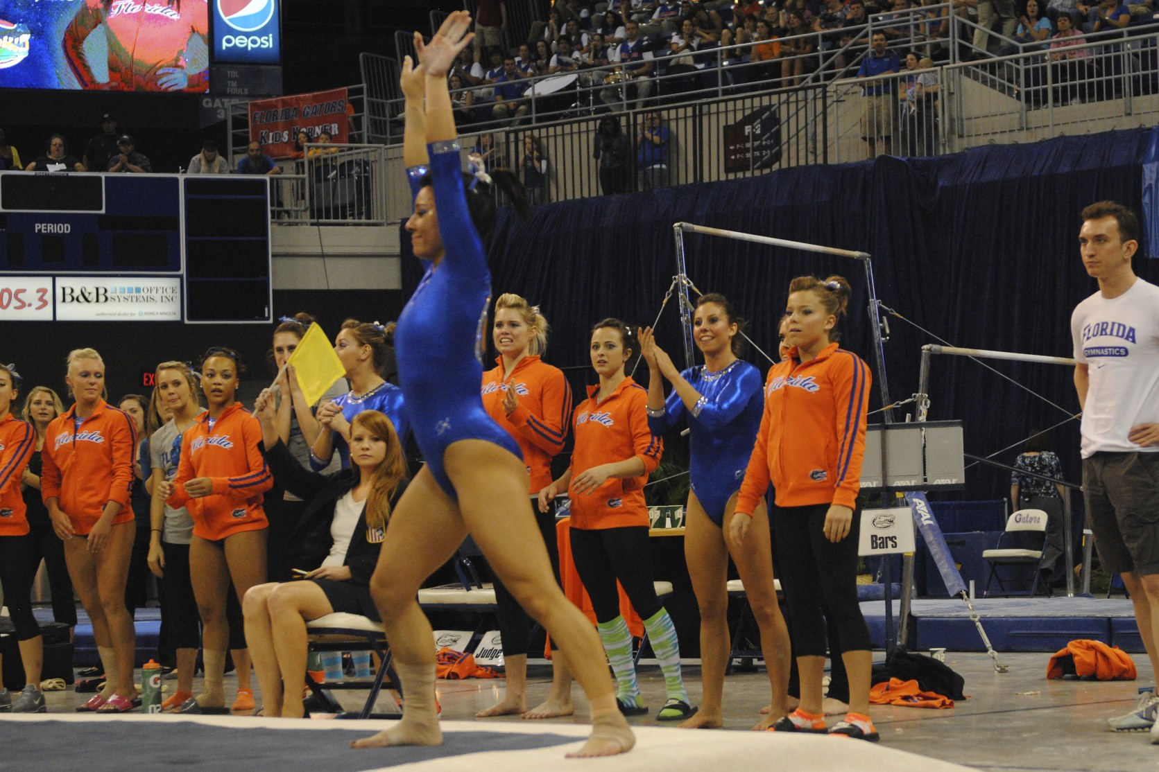 Junior Marissa King uncharacteristically stepped out of bounds during her floor routine and received a score of 9.80.