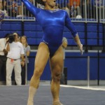 Marissa King shows her support by incorporating the gator chomp into her floor routine.