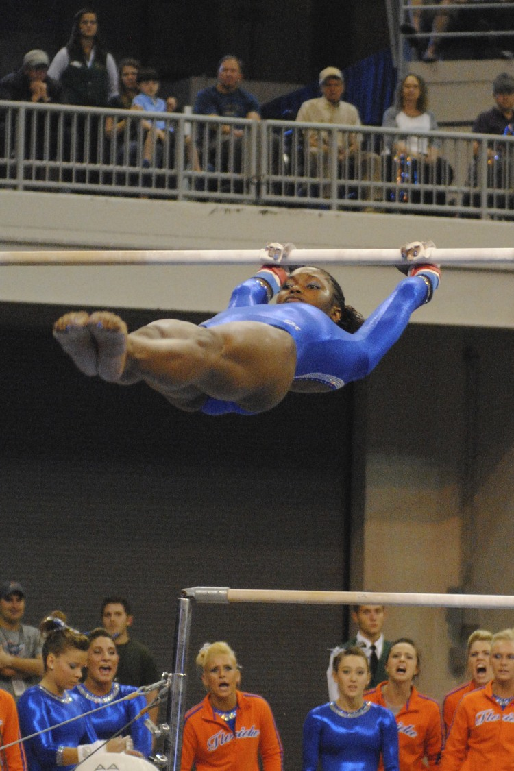 Junior Ashanee Dickerson scored a 9.875 on bars.