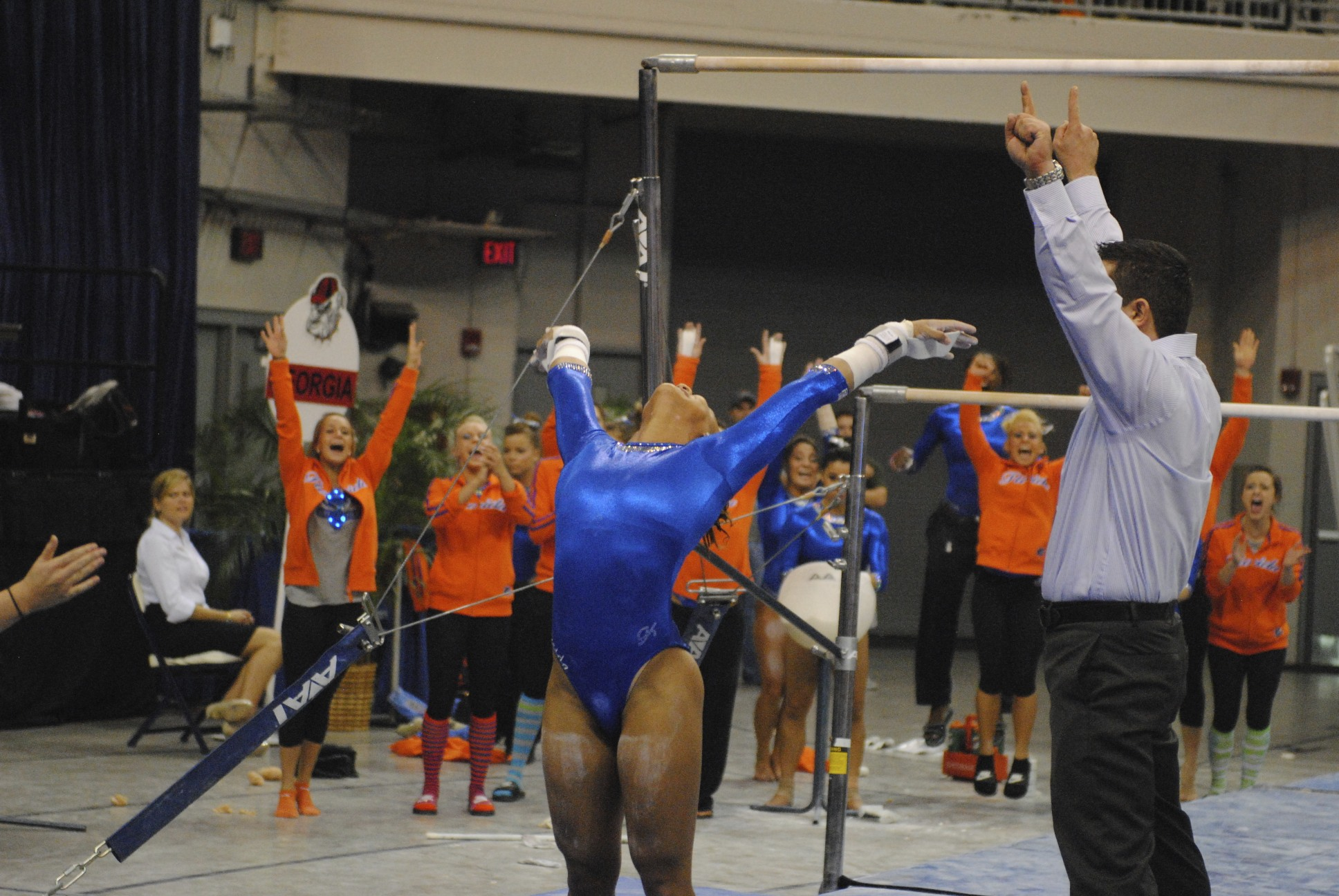 Freshman Kytra Hunter stuck her landing for a score of 9.85.
