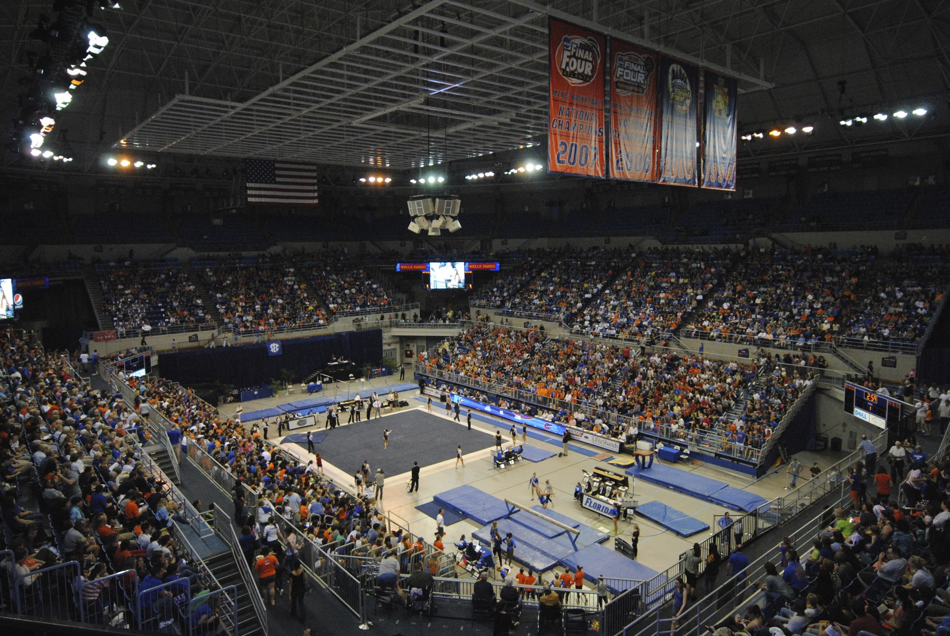 6,134 fans attended the gymnastics meet at the O'Connell center Friday night to watch the Florida Gators take on the Georgia Bulldogs.