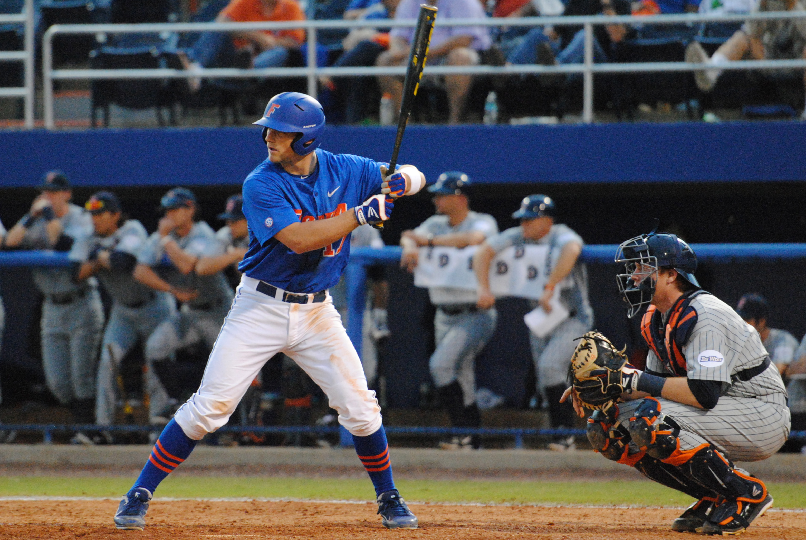 Gators Freshman Taylor Gushue up to bat.