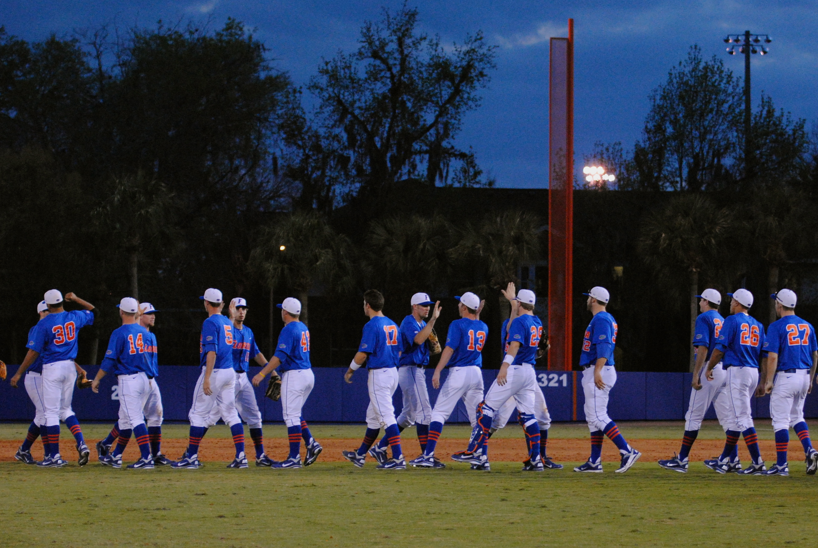 Gators Baseball team celebrates their victory against Cal State Fullerton, 5-2