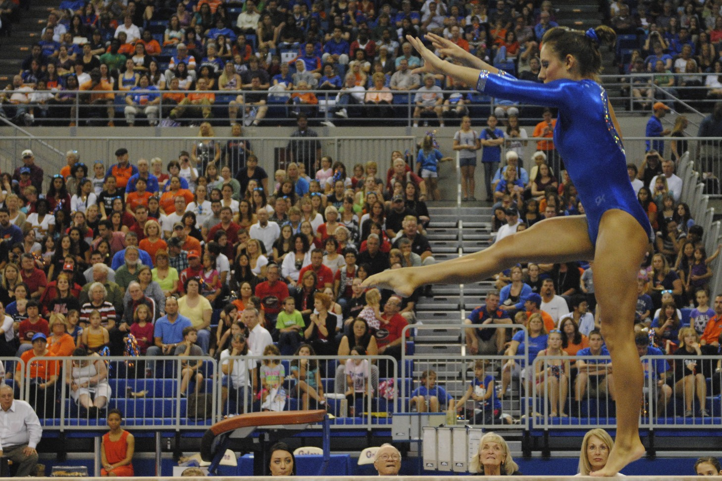 Alaina Johnson received a 9.85 for her beam routine.