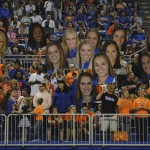 The Gator Fans showed their support with cut-outs of the Florida coaches and gymnasts.
