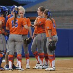 A team huddle as the Gators try to make a comeback.