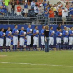 Florida Gators stand for the National Anthem