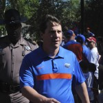 Head coach Will Muschamp during the Gator Walk before the Orange and Blue Debut.