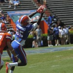 Frankie Hammond completes a catch during the Orange and Blue Debut.