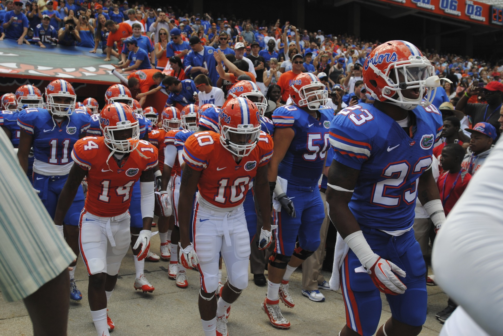 Gators take the field for the Orange and Blue Debut game.