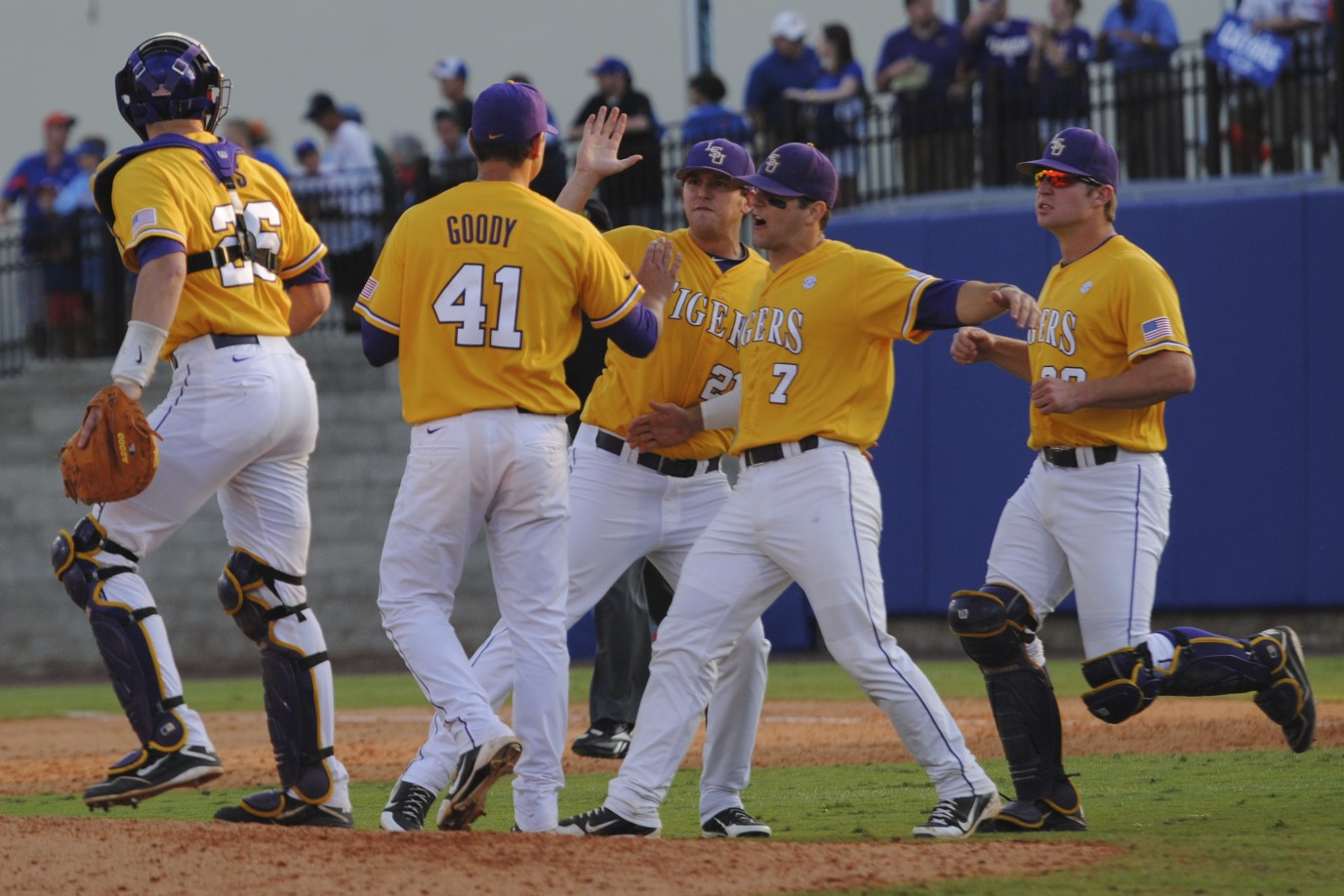 LSU comes back from a  2-7 deficit in the third to take the victory,  8-7.