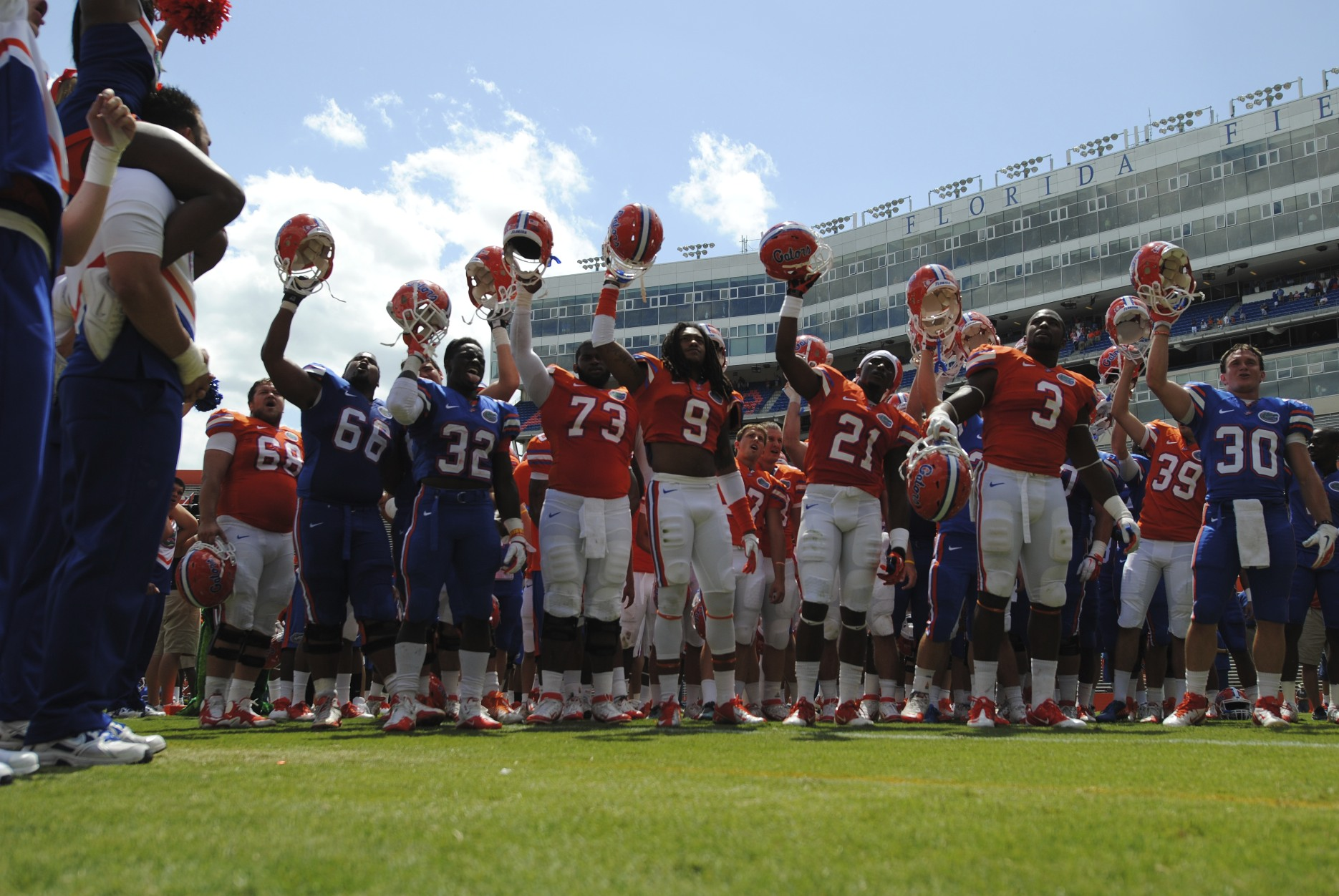"Blue beat Orange 21-20, as it appears the players are glad the Gators took home the ""W"" Saturday afternoon."