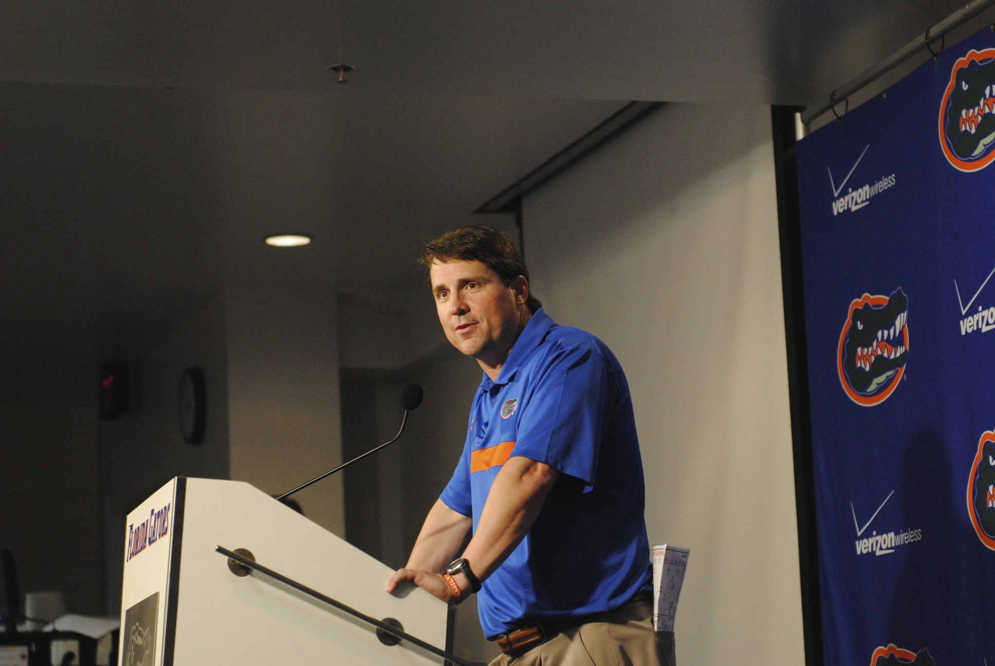 Will Muschamp during the post-game of Saturday's Orange and Blue Debut.