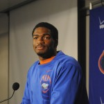 Jacoby Brissett speaks to the media following Saturday's Orange and Blue Debut.