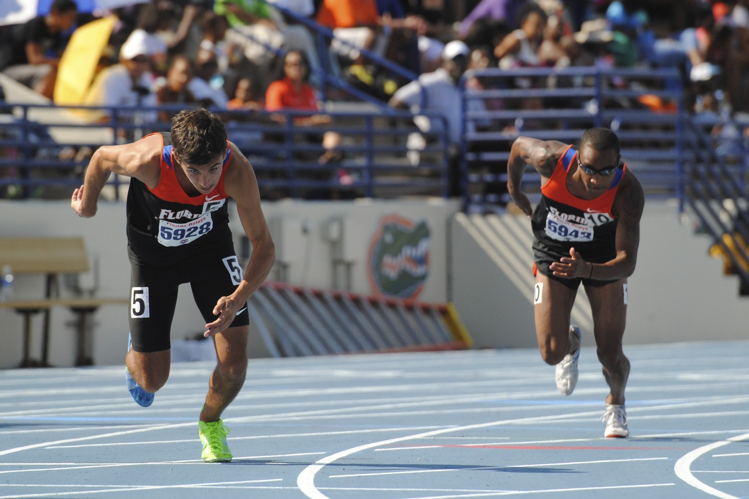 Tyler Cardillo and John Mitchell of the Florida Gators finish 7th and 8th in the 800 meter run, respectively.