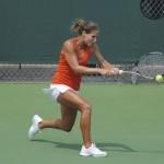 Senior Joanna Mather wins her singles match 6-3, 6-1.