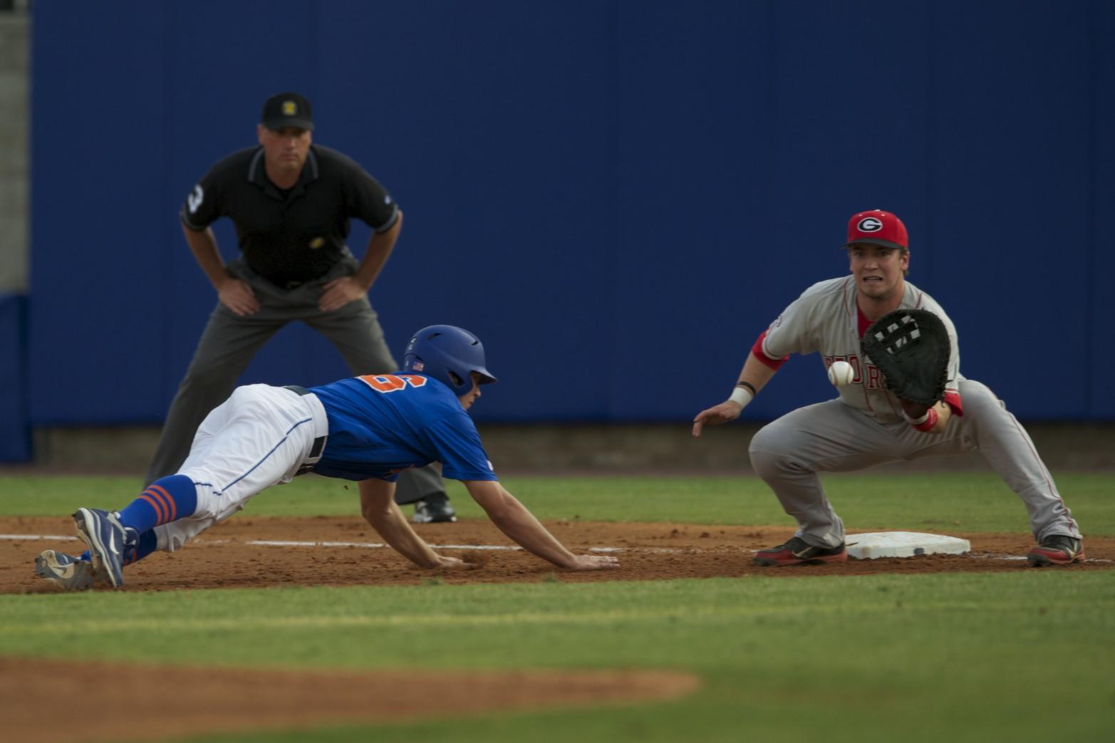 Freshman Justin Shafer slides back into first.