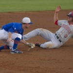 Second baseman Casey Turgeon gets an out for the Gators.