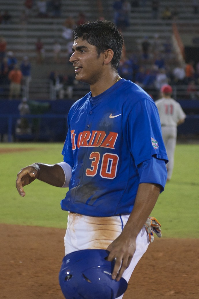 First baseman Vickash Ramjit scored the final run for the Gators after an error by the Georgia catcher, allowing Nolan Fontana to avoid the potential third out.