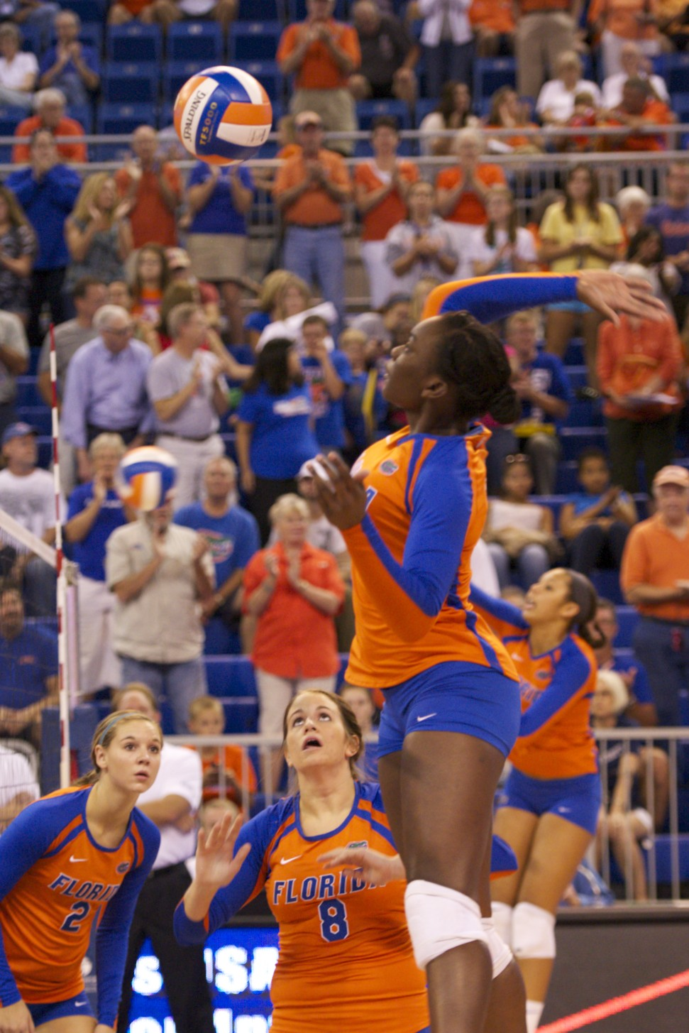 Freshman Simone Antwi had 6 kills in the match against Florida Gulf Coast Saturday evening.