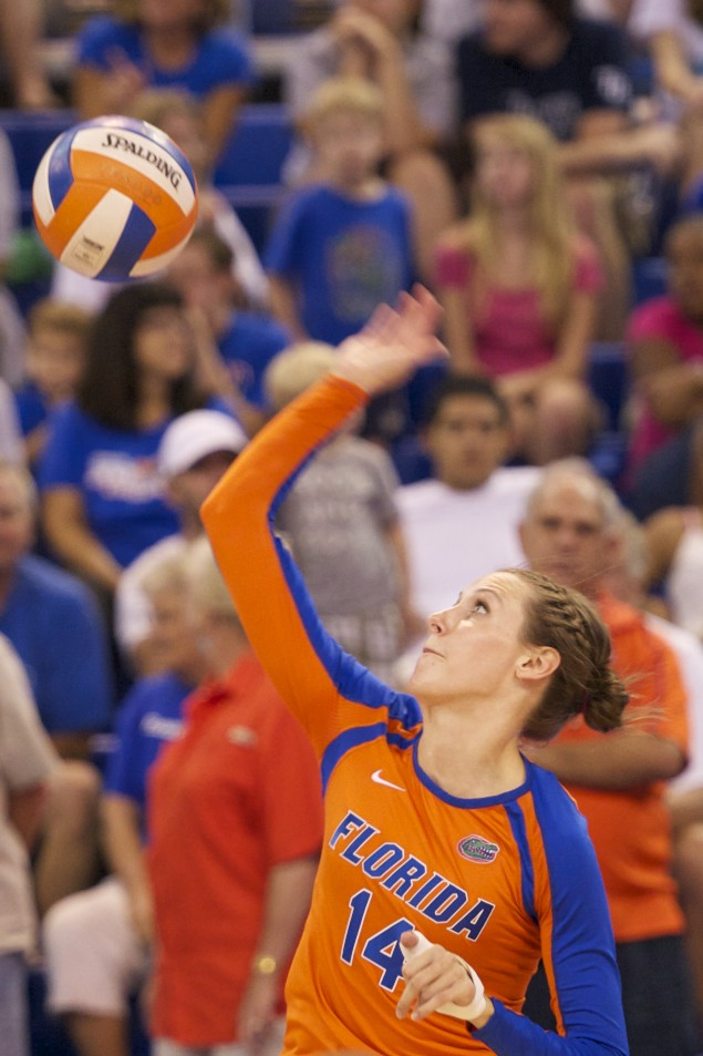 Senior Betsy Smith serves for the Florida Gators.