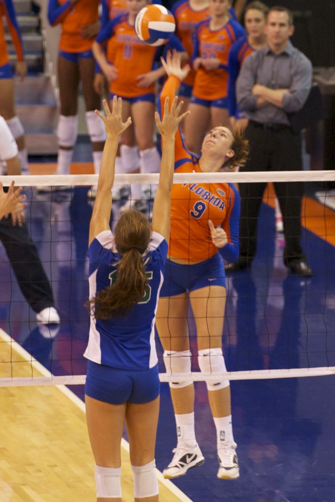 Freshman Ziva Recek had the second most kills Saturday night with 12.