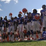 The Florida Football team celebrated with fans after the victory over the Kentucky Wildcats Saturday afternoon.