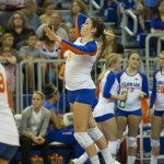 Setter Taylor Brauneis serves for the Florida Gators against the Missouri Tigers Friday night.