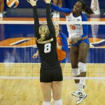 Junior Chloe Mann gets a kill for the Florida Gators in the second set Friday night.