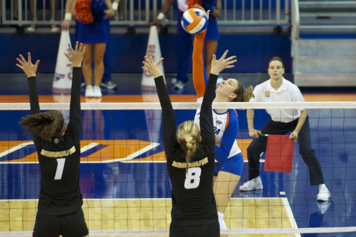 Freshman Ziva Recek gets a kill for the Gators from the outside in the second set during the match Friday evening.