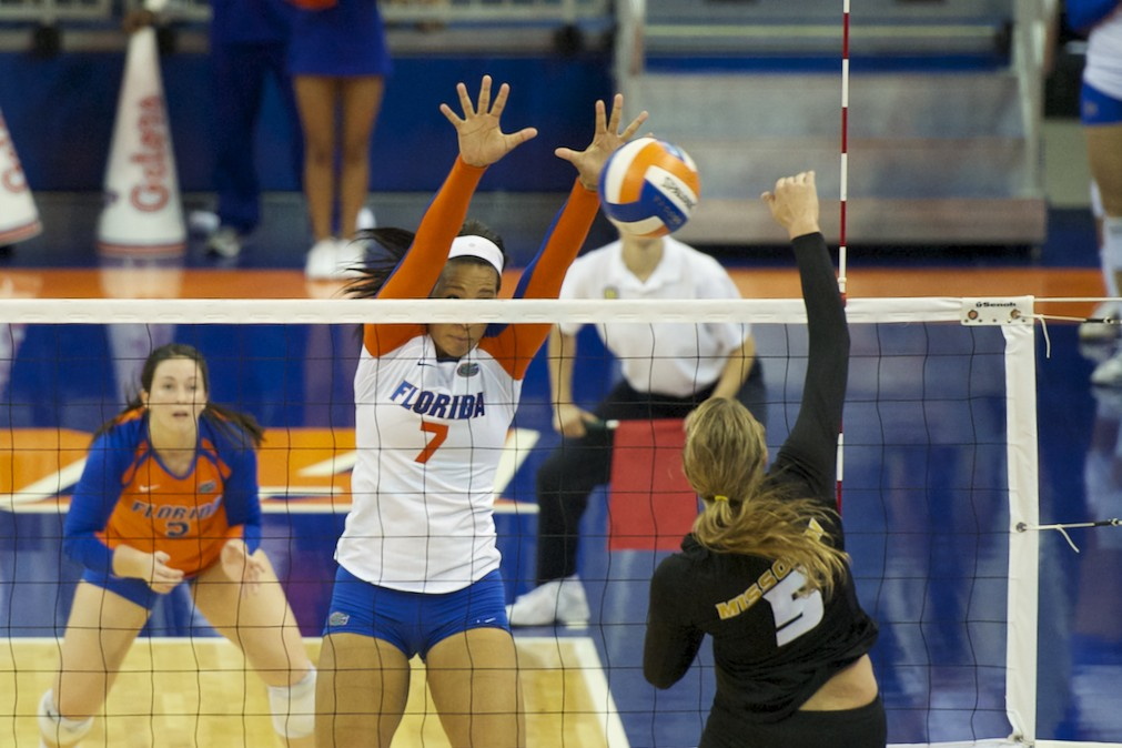 Freshman Gabby Mallette gets a block for the Florida Gators in the second set Friday evening.