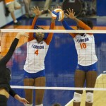Tangerine Wiggs and Chloe Mann block Missouri hitter in the second set on Friday night.