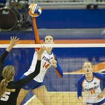 Senior Betsy Smith of the Florida Gators gets a kill in the second set against the Missouri Tigers.