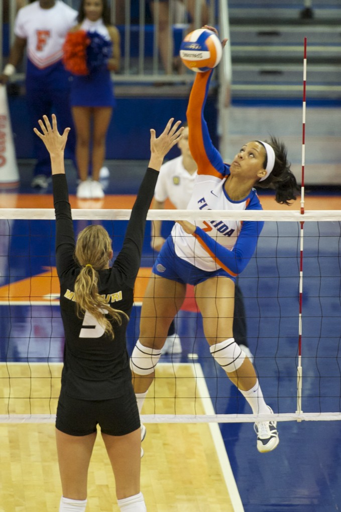 Freshman Gabby Mallette gets a kill from the outside for the Florida Gators Friday evening.