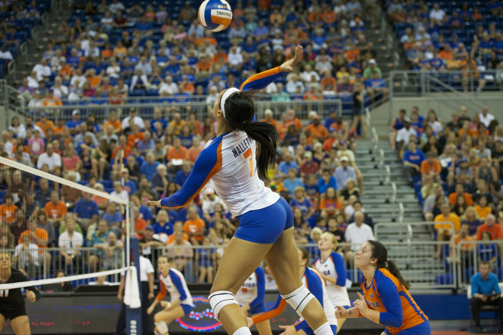 Freshman Gabby Mallette gets a kill in the third set for the Florida Gators.