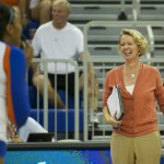 Florida head coach, Mary Wise, coaches from the sidelines during Friday night's match against the Missouri Tigers.
