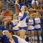Madison Monserez serves for the Florida Gators in the third and final set of the match Friday night.