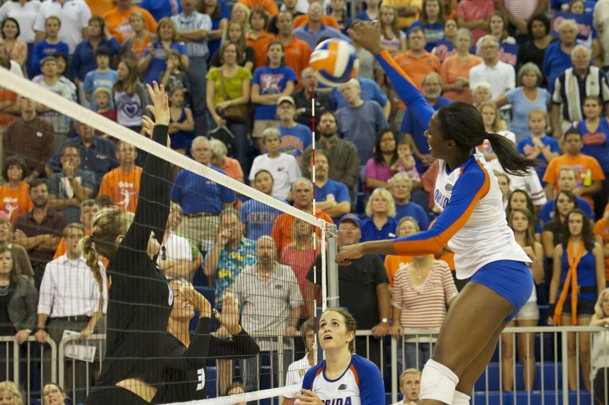Junior Chloe Mann gets the winning kill for the Florida Gators Friday night against the Missouri Tigers.