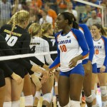 The Florida Gators defeated the Missouri Tigers in three straight sets Friday night.