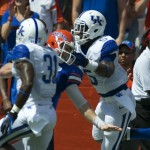 Early in the first quarter, Jeff Driskel ran the ball and only came down due to an illegal facemask tackle by Kentucky's Ashley Lowery.
