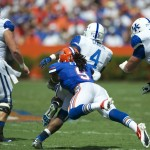 Defensive back Josh Evans single-handedly takes down Raymond Sanders of the Kentucky Wildcats.