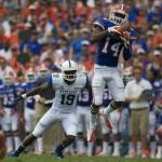 Jaylen Watkins of the Florida Gators has a 26-yard interception return for a touchdown in the first half.